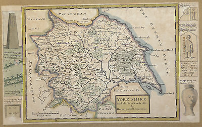 York Shire with the Post Roads by Herman Moll Geographer c1724
