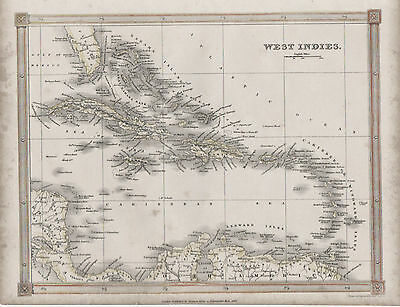 c1842 map of the West Indies by Alex Findlay