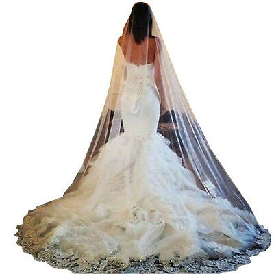 Luxury 1T White Lace Edge Cathedral Length Wedding Bridal Veil Comb