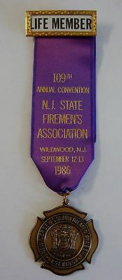 1986 109th Annual Convention NJ State Firemens Assoc Wildwood NJ Medal Ribbon