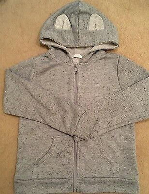 Unisex Marl Grey Zip Hoodie With Ears H&M Aged 6-8years