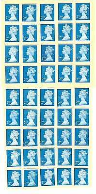 45 Gb 2Nd Class Unfranked Stamps - Off Paper - With Partial Gum