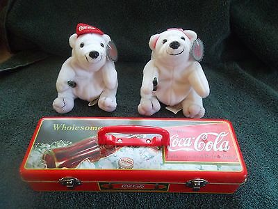 COCA-COLA Tin and 2 COCA-COLA Plush Bean Bag's
