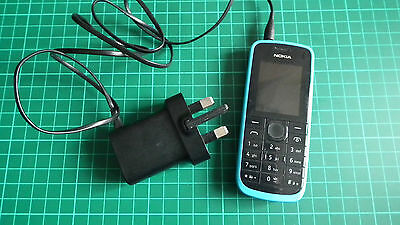 Pre-owned / Unlocked Nokia 109 Cyan & Black Mobile Phone including Charger - GC!