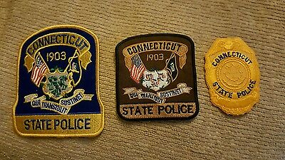3 Connecticut State Police badges/patches *new