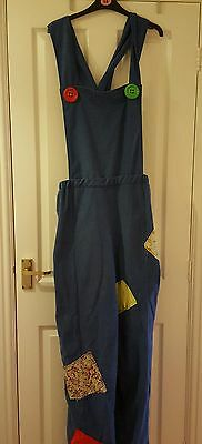 Mens Xl Pantomime Dungarees Blue With Patches Soft Fabric Quality