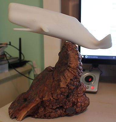 JOHN PERRY White Whale on Wood Burl Stand