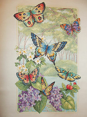 "CHRISTMAS GIFT-Lovely Completed Cross Stitch  ""BUTTERFLY FOREST"" 14 x 9""  £17.95"