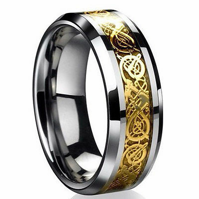 High Quality Mens Stainless Steel Gold Celtic Dragon Wedding Band Ring Sz S