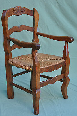 Stunning Hand Carved Crafted Oak Childs Elbow Chair, Rush Seat, Dolls Teddy Bear