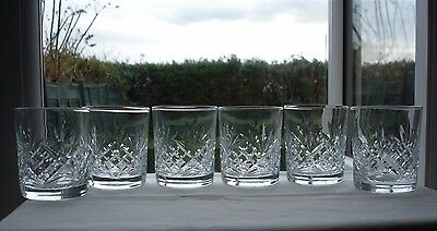 6 Small Crystal Whisky Tumblers / Glasses