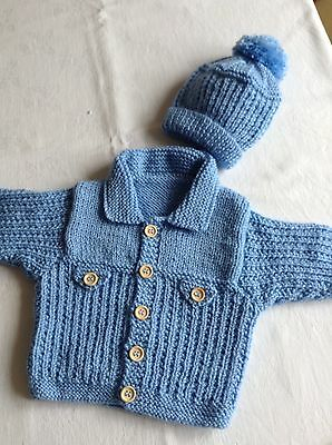 Brand New Hand Knitted Baby Cardigan and Hat 0-3 months