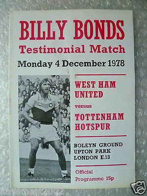 1978 Billy Bonds Testimonial Match WEST HAM UNITED v TOTTENHAM HOTSPUR, 4 Dec