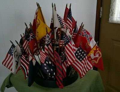 Vintage  Historical Miniature  50 Different Flags - Desk Or Table Display* Look!