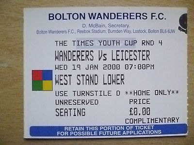 Tickets: Youth CUP RD 4- WANDERERS v LEICESTER, 19 January 2000
