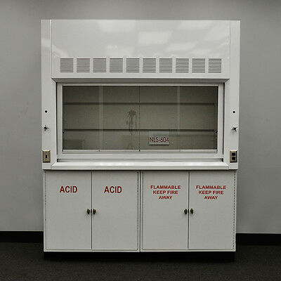 6' Chemical Laboratory Fume Hood with Flammable and Acid Storage Cabs NLS604