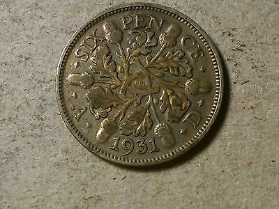 Sixpence. 6 pence Great Britain  Wedding coin.  George V 1931 silver