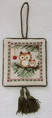 Finished Cross Stitch Christmas ORNAMENT  Mum and Baby OWLS