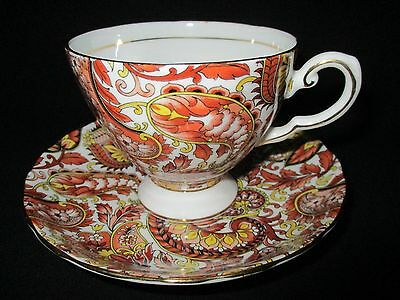 Royal Tuscan Bone China Tea Cup & Saucer Set Brown Paisley Chintz Made England