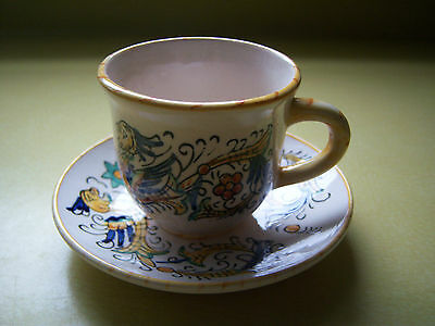 Dipinto A Mano Italy Dragon Espresso Cup and Saucer