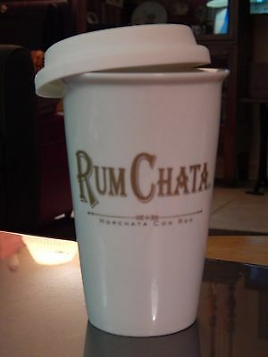 RUM CHATA Ceramic Travel Mug Drink Glass Insulated 12oz Lid Coffee Cup Horchata