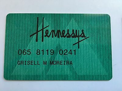 Vintage Retail Charge Credit Card J22 Hennessy's