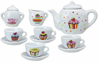 Ceramic Tea Set 13-piece Girls Kids Childs Present Toy Cupcake Design New