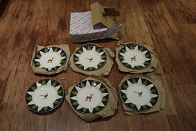 "Set Of 6  New  Spode Glen Lodge Stag Pheasant Plates 6.5"" Wide"