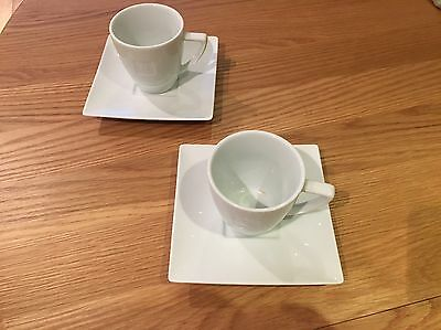 Nespresso N coffee tea espresso white two cup and two saucer set