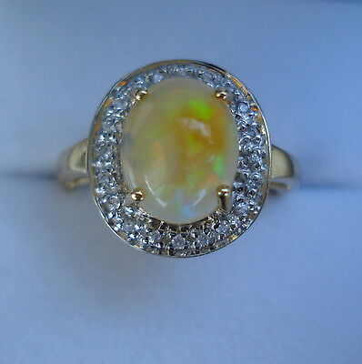 1.75ct Indonesian Black Opal & White Sapphire Portrait Design Gold Ring