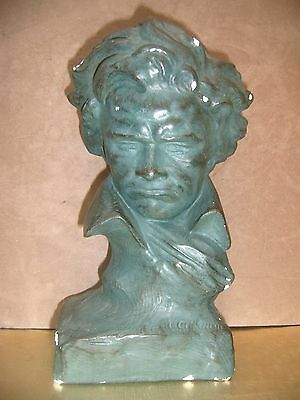 Plaster Bust of Beethoven. Illegible/unknown signature. FREE UK POSTAGE