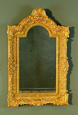 Antique French Carved Giltwood Mirror with Faux Aged Glass