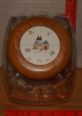 Vintage International China Heartland Glass Cookie Jar Canister Farm Village