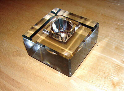 Vintage Industrial Look, Heavy Lead Crystal Glass Ink Well or Candle Holder Neat