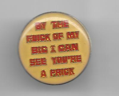 Vintage BY THE FLICK OF MY BIC I CAN SEE YOU'RE A PRICK  b2 old enamel pin