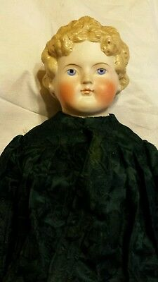 Antique Parian Type Doll, 22inches tall green dress