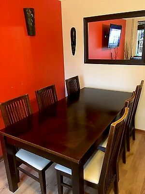 Dining Room Table And 6 Chairs Dark Wood With Cream Seats