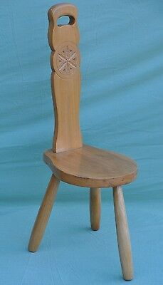 Beautiful Wooden 3 Legged Carved High Back Spinning Chair Spinners Wood Stool