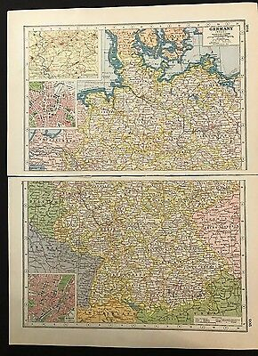 Vintage Map 1920, West Germany, Insets of Munich & Leipzig - Harmsworth's Atlas