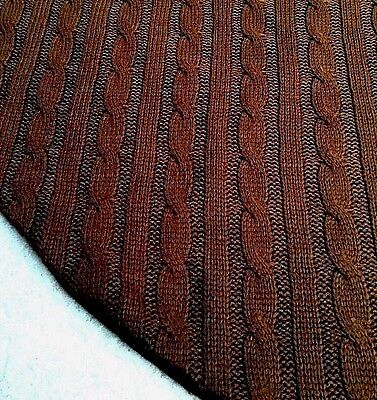 "46"" Elegant Brown Cable Knit Christmas Tree Skirt Sweater-like Knitted Material"