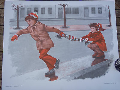 ORIGINAL RETRO VINTAGE 1970s FRENCH POSTER PRINT,CHILDREN PLAYING ON WINTER ICE