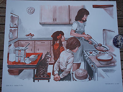 ORIGINAL RETRO VINTAGE 1970s FRENCH POSTER PRINT, FAMILY COOKING SCENE