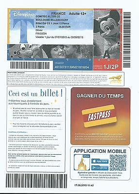 passeport Euro Disney Disneyland E-TICKET Mickey Blanche Neige NAIN 07/2015 LUXE