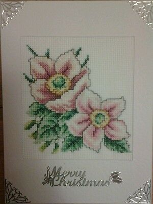Completed Christmas Cross Stitch Card Christmas Flowers