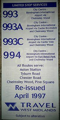 West Midlands Travel 993 994 bus timetable dated 1997