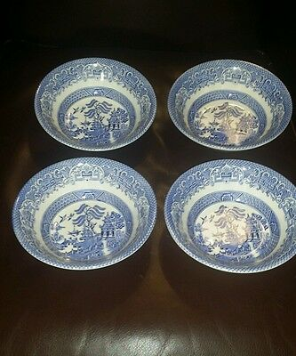 """BLUE WILLOW EIT IRONSTONE 4 Bowls 6 1/2"""" Wide MADE IN ENGLAND"""
