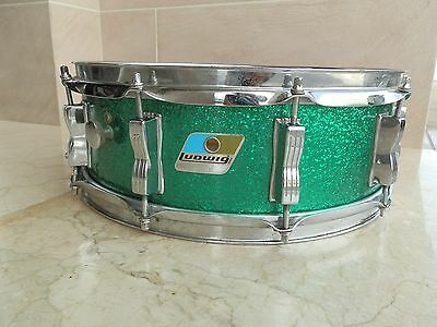 """Caja Ludwig Green Sparkle 14""""x5"""" Vintage 1980 Snare Drums"""
