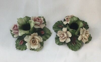 Capodimonte Pair Candle Holders Pink Roses