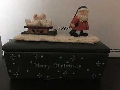 Christmas Candle Santa Pulling Led with Snowmen