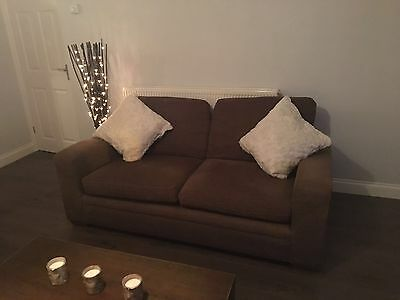 Next Brown Fabric Two seater And Three Seater Sofa